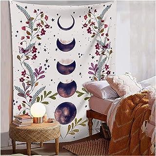 Moonlit Garden Tapestry,Flower Vine Tapestry,purple Moon Phase Surrounded by grape vine purple Tapestry purple flowers Wall Decor Tapestry (28.7x 37.4, Moonlit)