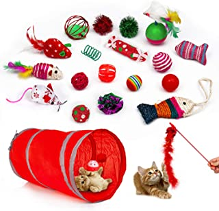upsimples Cat Toys Including Cat Teaser Wand Interactive Feather Toy Fluffy Mouse Mylar Crinkle Balls Catnip Pillow for Kitten Kitty