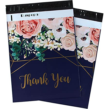 100 Pack RUSPEPA 10x13 Inch Poly Mailers Shipping Bags Thank You Notes Flowers Surrounded Mint Poly Mailers 2.3 Mil Heavy Duty Self Seal Mailing Envelopes