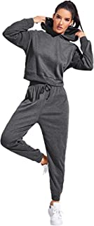 SweatyRocks Women's Casual Pullover Hoodie and Sweatpant 2 Piece Sport Jumpsuits Outfits Set