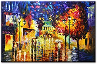 Asdam Art Paintings,24x36 inch Hand Painted Colorful 3D Oil Painting Abstract Modern Wall Art Romantic Lovers in Rain Wall Picture Abstract Night Street Couple Artwork for Home livingroom Bedroom Bat