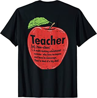 BACK PRINT Mens Womens Teachers Definition Shirt Apple Gifts