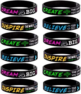 Sainstone 12-Pack Silicone Motivational Wristbands - Dream, Inspire, Create, Believe - Wholesale Inspirational Quote Bracelets for Kids Boys & Girls Birthday Dance Party Favors Cheer Gifts