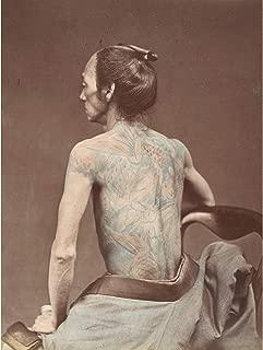 Japanese Edo Period Mechanic Tattoo Tattooing Photo Premium Wall Art Canvas Print 18X24 Inch 日本人写真壁