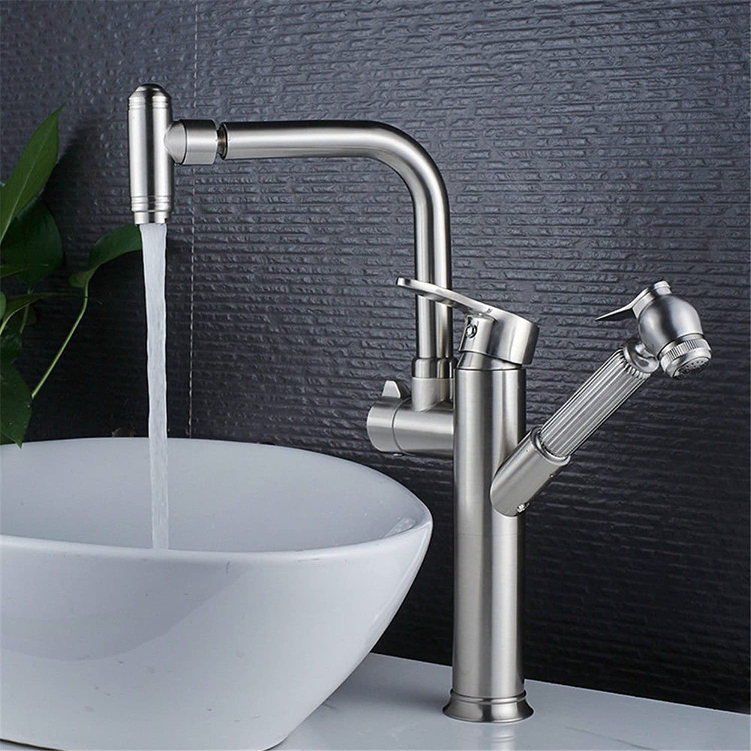 SADASD Contemporary Bathroom Full Copper Basin Faucet Mixer Kitchen Brushed Draw-Down redate Basin Sink Mixer Tap Ceramic Valve Single Hole Single Handle Cold Water With G1 2 Hose