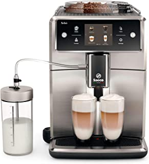 Saeco super-automatic espresso coffee machine with an adjustable grinder, double boiler, for brewing espresso, cappuccino, latte & flat white. SM7685 Xelsis