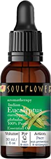 Soulflower Eucalyptus Essential Oil, Pure and Natural, Undiluted, Organic, For Cold & Cough-Camphor Family, Safe and Vega...