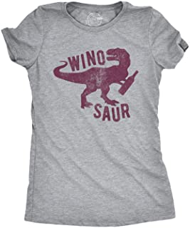 Womens Winosaur T Shirt Funny Wine Lover Drinking Vintage Graphic Gift for Her
