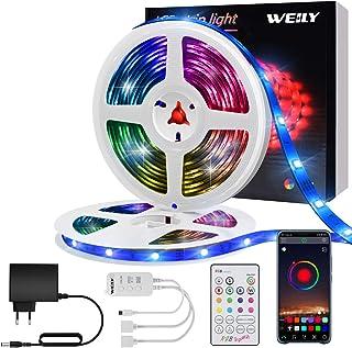 Ruban LED 10M Intelligent Bluetooth,WEILY10M Led Ruban Intelligent Music Sync Bande de lumière LED RGB à changement de cou...