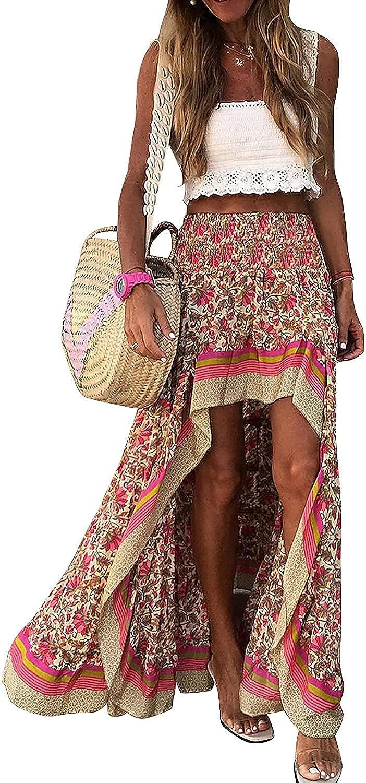 Ranle Women's Bohemian Floral Print Skirt High and Low Slit Ruffle Hem Stretch Skirt