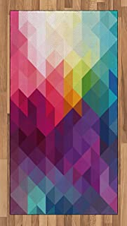 Lunarable Rainbow Area Rug, Colorful Abstract Geometric Pattern with Triangles Polygon and Other Shapes Rainbow, Flat Woven Accent Rug for Living Room Bedroom Dining Room, 2.6' x 5', Pink Magenta