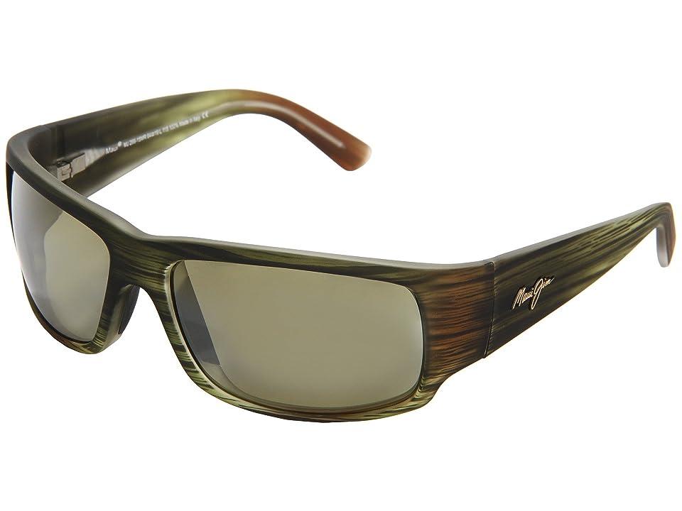 Maui Jim World Cup (Matte Green Stripe Rubber/Maui HT) Sport Sunglasses