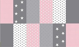Stoffpaket Patchwork Baumwollstoffe 12 x 25x35cm rosa grau weiß - Stoffe - Punkte, Sterne, Rauten, Pünktchen, Sterne