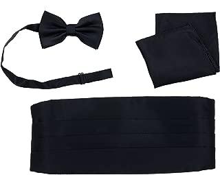 Cummerbund Bow Tie Pocket Square Handkerchief Set Salutto Formal Solid Color
