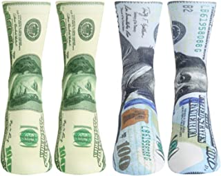 Men's Novelty Funny Dollar 3D Printed X-Ray Fun Graphic Athletic Crew Tube Socks