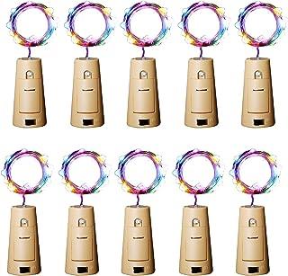 Aluan Wine Bottle Lights with Cork 12LED 10 Pack Bottle Lights Waterproof Battery Powered..