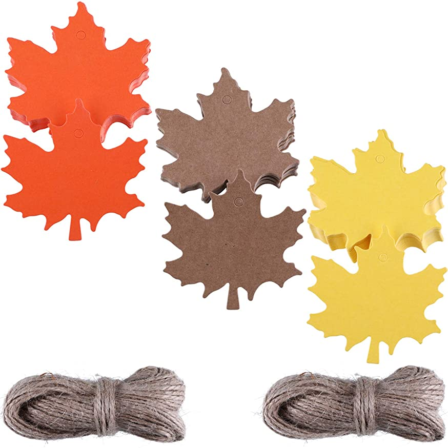 Zhanmai 150 Pieces Maple Paper Tags Kraft Leaves Gift Tag with 131 Feet Natural Twine for Christmas Thanksgiving Holiday Birthday Wedding