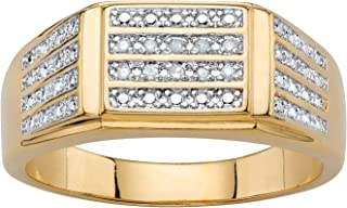 Men's 14K Yellow Gold Plated Genuine Diamond Accent Multi...