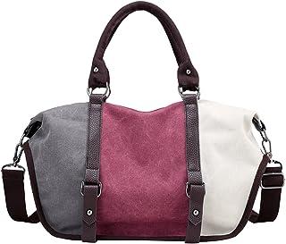 PB-SOAR Damen Vintage Canvas Henkeltasche Schultertasche Handtasche Umhängetasche Shopper Sporttasche, 6 Farben auswählbar GrauLilaWeiß