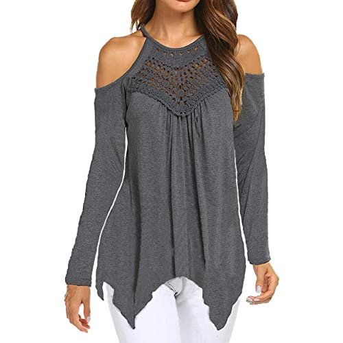 9c8bd62fad0d66 Women Cold Shoulder Top Lace Long Sleeve Loose Fit Casual Tee T-Shirt
