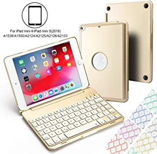 Addprime iPad Mini 5/4 Case with Keyboard 7 Colors Backlit Adjustable Angles Aluminum Alloy Shell and Back Plate Chocolate ABS Button Wireless Bluetooth Keyboard Case for iPad Mini 5 and Mini 4 Gold