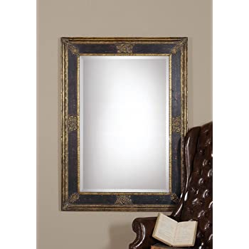 Amazon Com Intelligent Design Ornate Extra Large Black Gold Wall Mirror Masculine Antique Home Kitchen