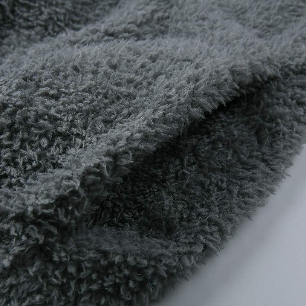 JUTOO Damen Kapuzen Sweatshirt Baumwolle Patchwork Winter Warme Wolle Outwear Reißverschlusstaschen Tops Grau