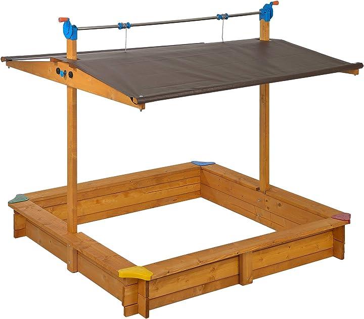 Sabbiera per bambini mickey in legno | 140 x 140 cm | con tettuccio retrattile/regolabile gaspo G31001