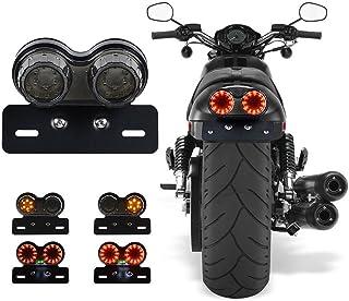 Rosso Cromo A proiettile Doppio Freno//Stop e Luci Posteriori per i motocicli//Trike Gambo Corto