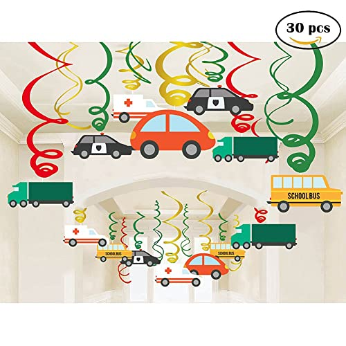 Jiahai 30Ct Colorful Transportations Cars Trucks Buses Hanging Swirl Home Decorations For Transportation Themed Birthday Party