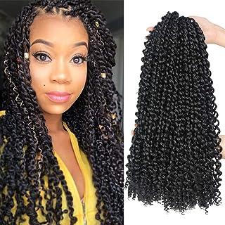 6 Packs Passion Twist Hair 18 Inch Bohemian Curl Passion Twist Crochet Braiding Hair Water Wave Synthetic Braids for Passion Twist Crochet Hair (22strands/pack, 1B#)