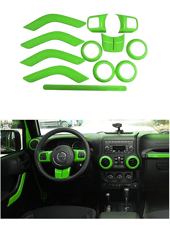 Opall Full Set Interior Decoration Trim Kit Steering Wheel & Center Console Air Outlet Trim, Door Handle Cover Inner, Passenger Seat Handle Trim For Jeep Wrangler