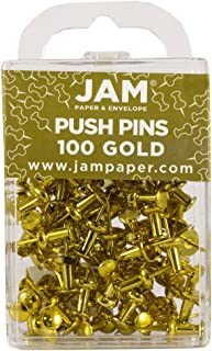 JAM PAPER Colorful Push Pins - Gold Pushpins - 100/Pack
