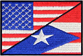 USA/Puerto Rico Flag Morale Patch Embroidered National Applique Iron On Sew On Emblem