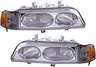 JP Auto Headlight Compatible With Acura Legend Sedan 1991 1992 1993 1994 1995 Driver Left And Passenger Right Side Pair Set Headlamp