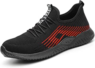 MARITONY Steel Toe Safety Shoes for Men and Women, Lightweight Breathable Industries Construction Work Shoes Slip Resistant Slip on Puncture Proof Sneakers