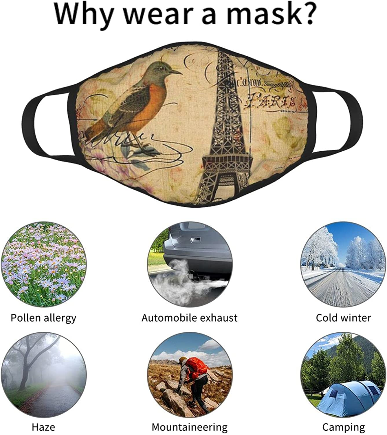 Balaclava Earmuffs Vintage Eiffel Tower Floral Bird Butterfly Face Mouth Cover Mask Reusable Dust Scarf Towel Cover Headwrap