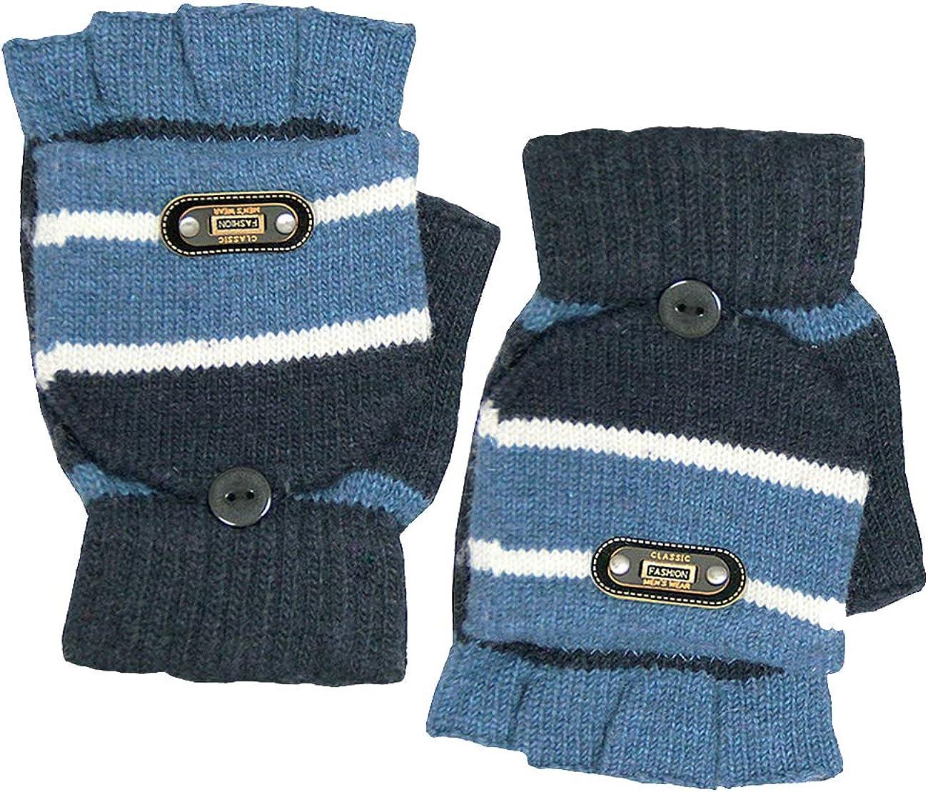 Men's Striped Pop-Top Convertible Acrylic Fingerless Mitten Gloves