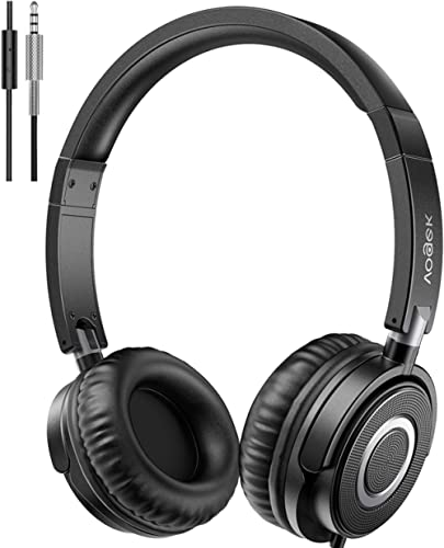 Vogek Headphones with Microphone, Portable Foldable On Ear Headsets Wired with Stereo Bass, Noise Isolating and Adjus...