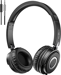 Vogek On Ear Headphones with Microphone, Lightweight Portable Fold-Flat Stereo Bass Headphones with 1.5M Tangle Free Cord ...