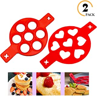 Pancake mold maker,Horuhue 2 Pack Nonstick Silicone Egg Rings Egg Cooker Muffin Pancake Mold 14 Cavity Heart & Round Baking Round Molds