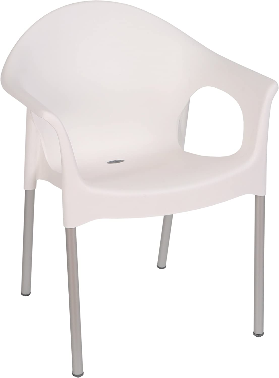 Tensai Lisa Collection Rounded Back Durable Plastic Single Chair, White