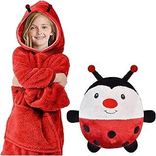 Albornoz Niño Animales Pijama Niña Manta Sudadera con Capucha Cálida Manta Ropa de Dormir 2 en 1 y Almohada para Mascotas Retráctil para Niñas y Niños