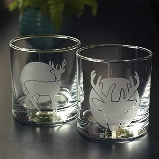 DEER Lowball Glasses set of 2 - Dishwasher-safe etched whiskey glass