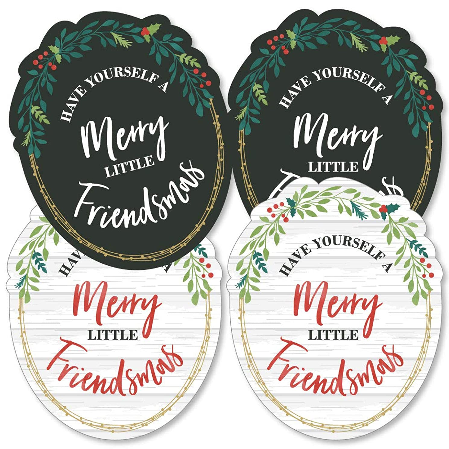 Rustic Merry Friendsmas - Wreath Decorations DIY Friends Christmas Party Essentials - Set of 20