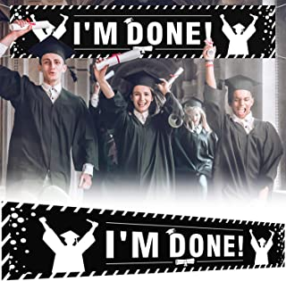 9.8 x 1.6 ft Large Sign I'm Done! Banner - Black Perfect Graduation Party Decorations Backdrop