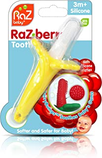 RaZberry Baby Teether & Toothbrush/BerryBumps Soothe and Massage Sore Gums/Perfectly Sized 100% Silicone