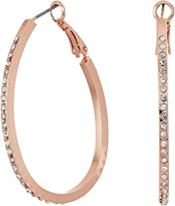 Oval Pave Hoop Earrings