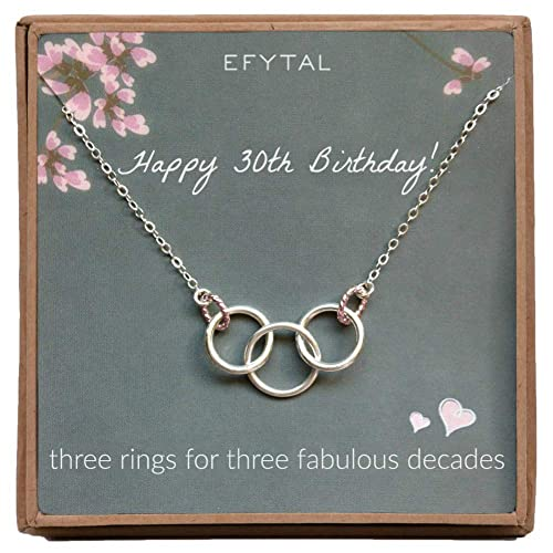 EFYTAL Happy 30th Birthday Gifts For Women Necklace Sterling Silver 3 Rings Three Decades Necklaces