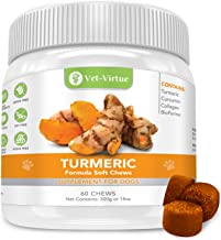 Turmeric for Dogs- Organic Turmeric with Curcumin, Dog Joint Supplement Soft Chew, Collagen and Bioprene, High Absorption Eliminates Joint Pain Inflammation